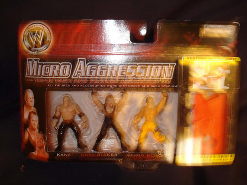 WWE Micro Aggression Kane Undertaker Chris Benoit with Anouncers Table
