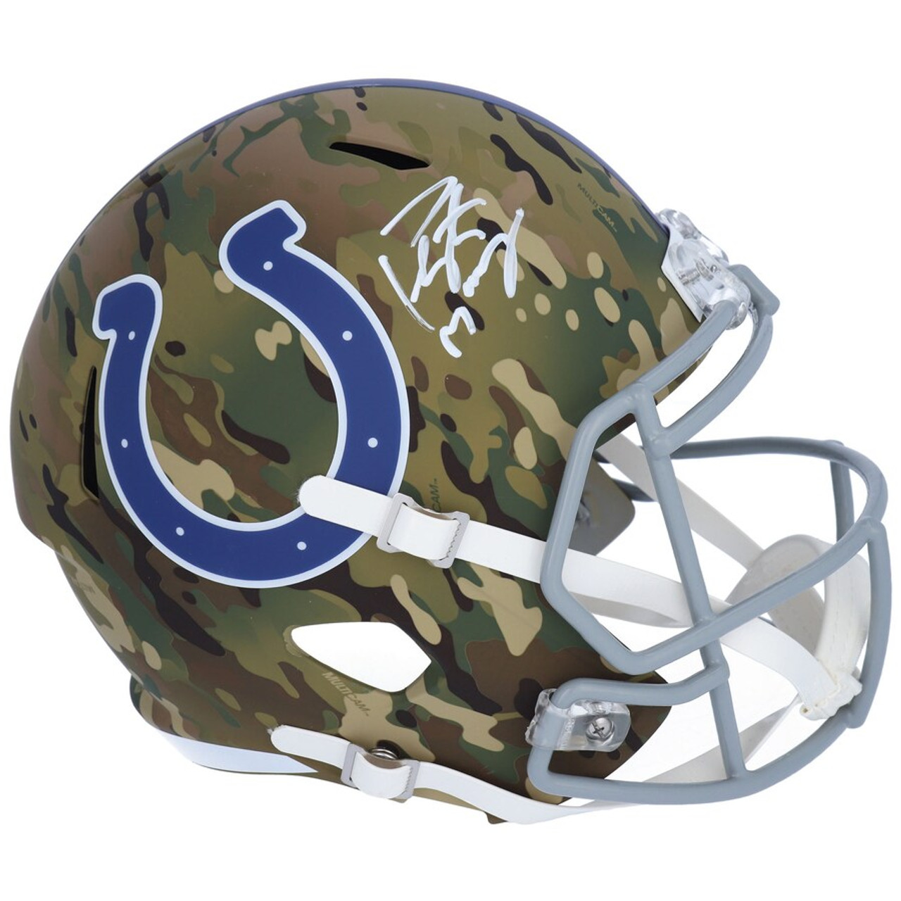 Peyton Manning Autographed Indianapolis Colts Camo Speed Full Size Helmet Fanatics Game Day Legends
