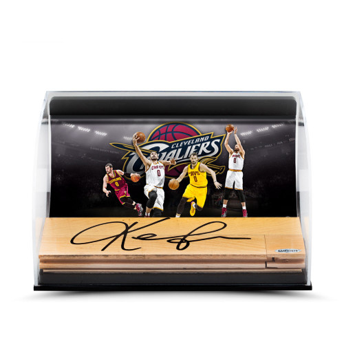 KEVIN LOVE Photo With Signed NBA Game Used Floor Curve Display UDA.