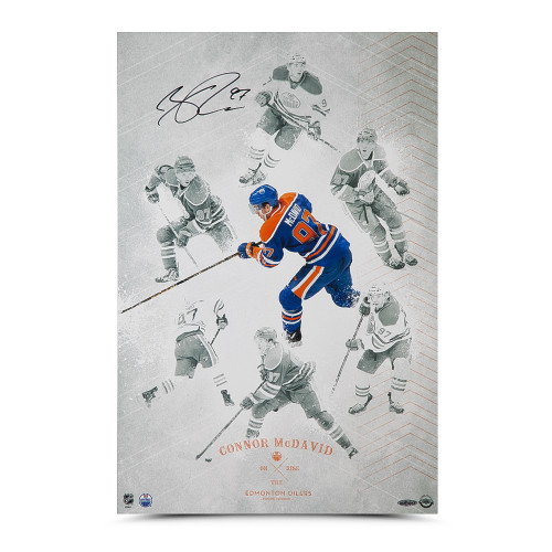 CONNOR MCDAVID AUTOGRAPHED ON THE RISE 16 X 24 UDA