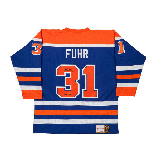 GRANT FUHR Autographed & Inscribed Authentic Mitchell & Ness Edmonton Oilers Blue Jersey UDA LE 31