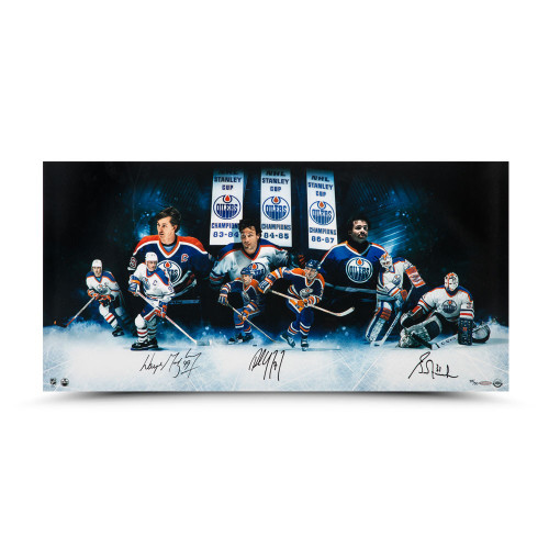"""WAYNE GRETZKY, PAUL COFFEY and GRANT FUHR Autographed 36 x 18 """"Outstanding Oilers""""Inscribed Photo UDA LE 50"""