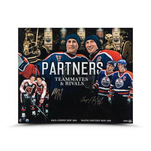 "WAYNE GRETZKY and PAUL COFFEY Autographed ""PARTNERS"" 20 x 24 Photo 20 UDA"