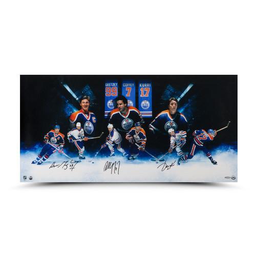 """WAYNE GRETZKY, PAUL COFFEY and JARI KURRI Autographed """"Oilers""""® Greats"""" 36 x 18 Photo UDA"""