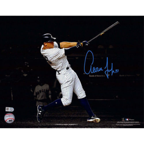 "AARON JUDGE Autographed 11""x 14"" Home Run Spotlight Photograph FANATICS"