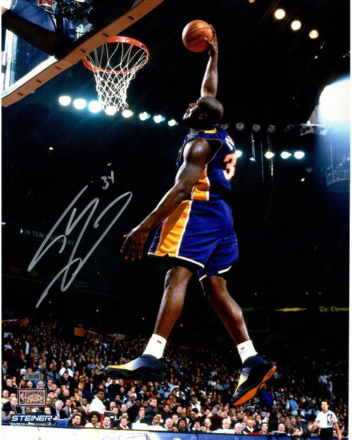 """SHAQUILLE O'NEAL Hand Signed Los Angeles Lakers """"Dunk"""" 16 x 20 Photograph STEINER"""