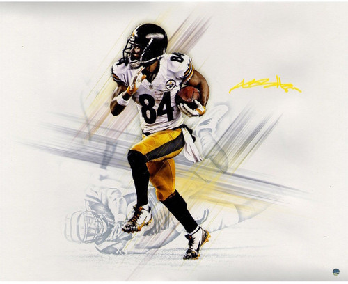 "ANTONIO BROWN Autographed (In Yellow) ""Graphic"" Metallic 16 x 20 Photo STEINER"