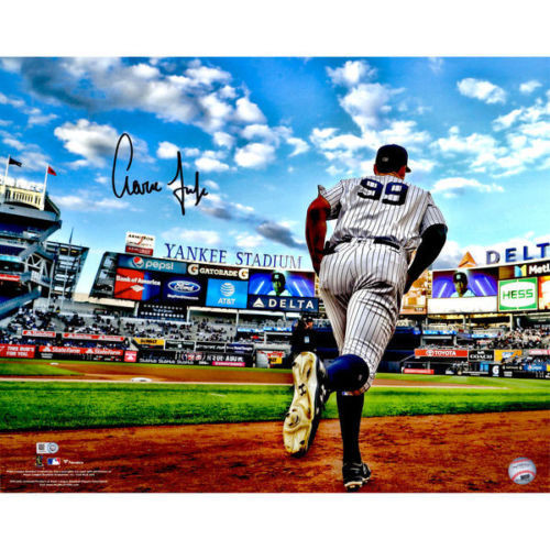 """AARON JUDGE Autographed 16"""" x 20"""" """"Running Out of Dugout"""" Photograph FANATICS"""