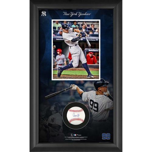 AARON JUDGE New York Yankees Framed Autographed Baseball Collage Shadowbox FANATICS