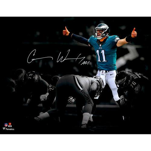 "CARSON WENTZ Philadelphia Eagles Autographed 11"" x 14"" At The Line Spotlight Photograph FANATICS"