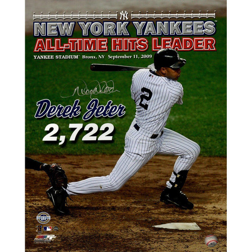 """DEREK JETER Autographed """"All Time Hits Leader"""" 16 x 20 Photograph STEINER"""