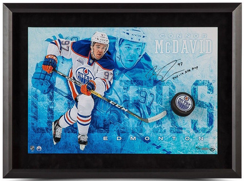 "CONNOR McDAVID Autographed MVP ""Commanding"" Break Through Display UDA LE 97"