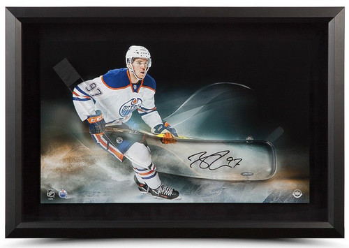 CONNOR McDAVID Signed Oilers Acrylic Stick Blade 24 x 16 Display UDA