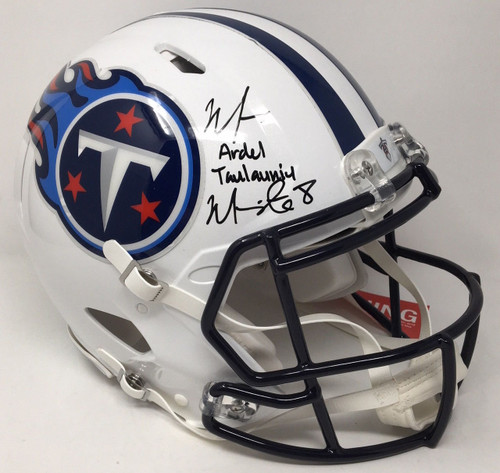 MARCUS MARIOTA Signed / Inscribed Full Name Tennessee Titans Speed Helmet STEINER LE 8