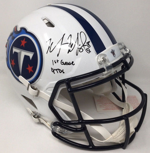 "MARCUS MARIOTA Autographed ""1st Game 4 TDs"" Titans Speed Helmet STEINER LE 8/8"
