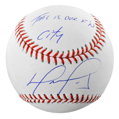 """DAVID ORTIZ Autographed Boston Red Sox """"This is Our F'N City"""" Baseball FANATICS"""