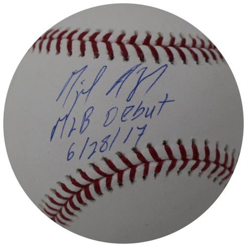 """MIGUEL ANDUJAR Autographed New York Yankees """"MLB Debut 6/28/17"""" Baseball STEINER"""