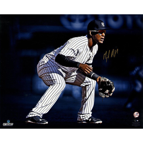 """MIGUEL ANDUJAR Autographed NY Yankees """"Fielding"""" 16"""" x 20"""" Photograph STEINER"""