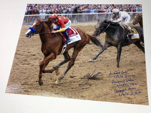 MIKE SMITH Autographed Inscribed Triple Crown 16 x 20 Photograph STEINER LE 18