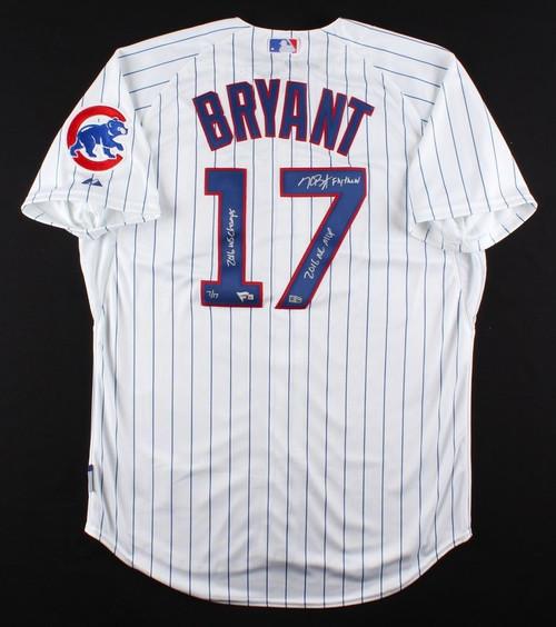 KRIS BRYANT Signed 3 Inscription Authentic White Cubs Jersey FANATICS LE 17/17
