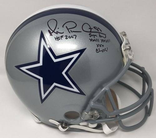 MICHAEL IRVIN Signed / Inscribed HOF 07 Cowboys Proline Helmet STEINER LE 88/88