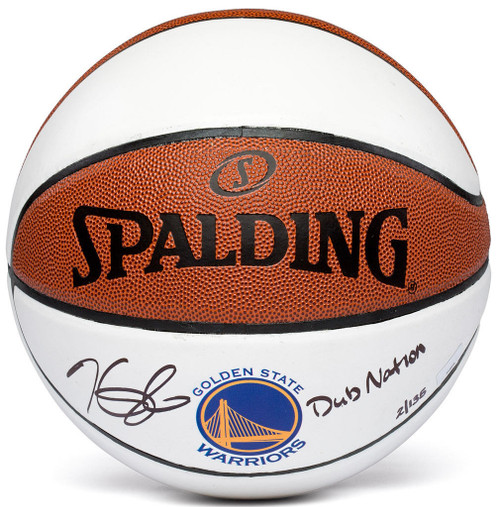 """KEVIN DURANT Autographed Warriors """"Dub Nation"""" Basketball PANINI LE 35/135"""