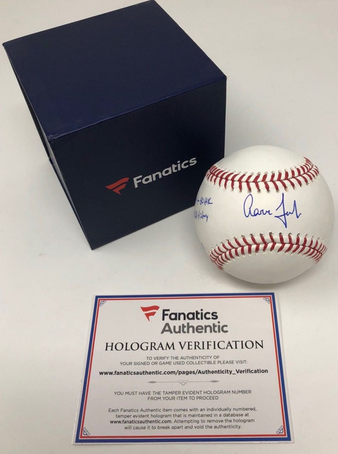 "AARON JUDGE Autographed Yankees ""Fastest to 60 HR"" Baseball FANATICS LE 99"