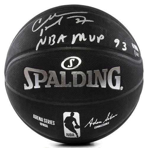 CHARLES BARKLEY Signed Inscribed MVP 93 Black Spalding Basketball PANINI LE 100