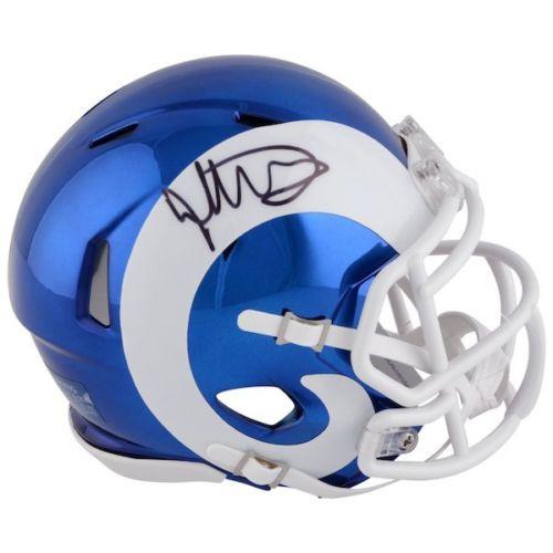 TODD GURLEY Autographed Los Angeles Rams Chrome Mini Speed Helmet FANATICS