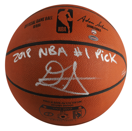 """DEANDRE AYTON Autographed (Silver) and Inscribed """"2018 NBA #1 Pick"""" Authentic Spalding Basketball - Limited Edition of 22 - GAME DAY LEGENDS & STEINER"""