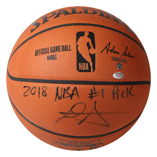 """DEANDRE AYTON Autographed (Black) and Inscribed """"2018 NBA #1 Pick"""" Authentic Spalding Basketball - Limited Edition of 22 - GAME DAY LEGENDS & STEINER"""