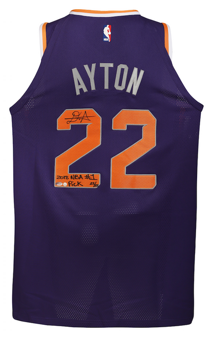 """DEANDRE AYTON Autographed and Inscribed """"2018 NBA #1 Pick"""" Authentic Purple Nike Phoenix Suns Jersey - Limited Edition of 22 - GAME DAY LEGENDS & STEINER"""