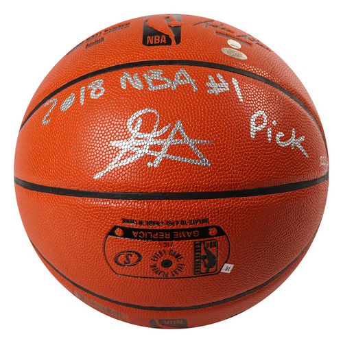 """DEANDRE AYTON Autographed (Silver) and Inscribed """"2018 NBA #1 Pick"""" Game Ball Series Spalding Basketball - Limited Edition of 22 - GAME DAY LEGENDS & STEINER"""