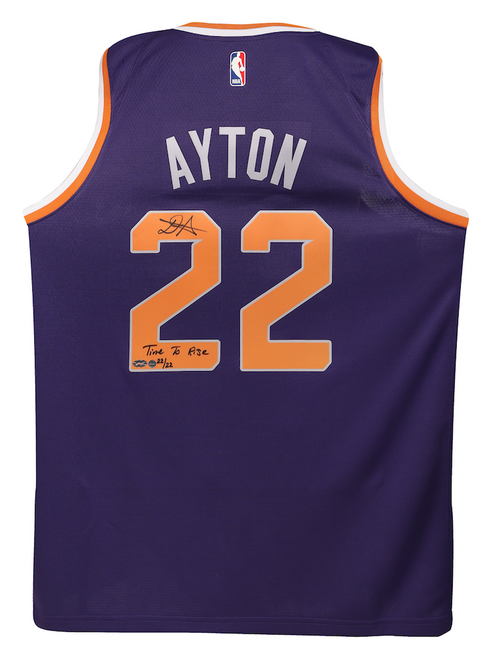 """DEANDRE AYTON Autographed and Inscribed """"Time To Rise"""" Purple Nike Phoenix Suns Swingman Jersey - Limited Edition of 22 - GAME DAY LEGENDS & STEINER"""