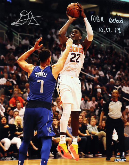 """DEANDRE AYTON Autographed and Inscribed Phoenix Suns """"NBA Debut 10/17/18"""" Jump Shot 16"""" x 20"""" Photograph - Limited Edition of 22 - GAME DAY LEGENDS & STEINER"""