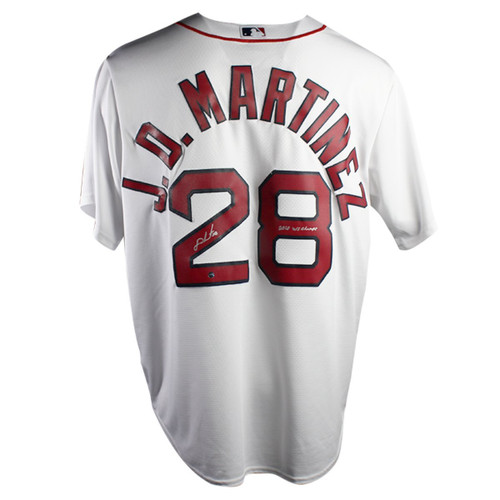 "J.D. MARTINEZ Autographed/Inscribed ""2018 WS Champs"" Boston Red Sox White Home Jersey STEINER"
