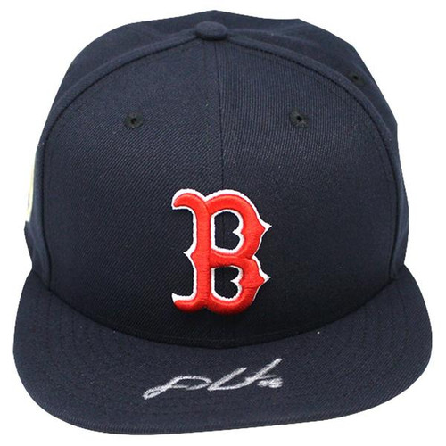 J.D. MARTINEZ Autographed Boston Red Sox New Era Navy Home 2018 World Series Patch Fitted Hat STEINER