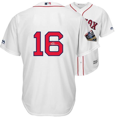 ANDREW BENINTENDI Autographed Boston Red Sox 2018 MLB World Series Champions Majestic White Replica World Series Jersey FANATICS