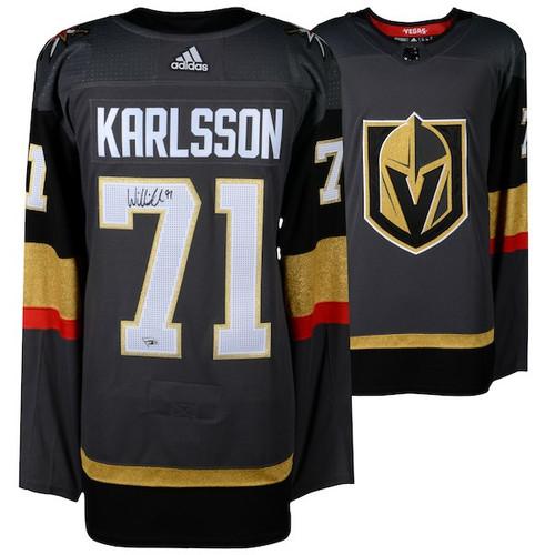 WILLIAM KARLSSON Autographed Las Vegas Golden Knights Black Adidas Authentic Jersey FANATICS