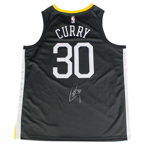 """STEPHEN CURRY Autographed Golden State Warriors Grey Nike Dri-FIT Men's """"The Town"""" Swingman Jersey (On Court Style with Rakuten logo) STEINER"""