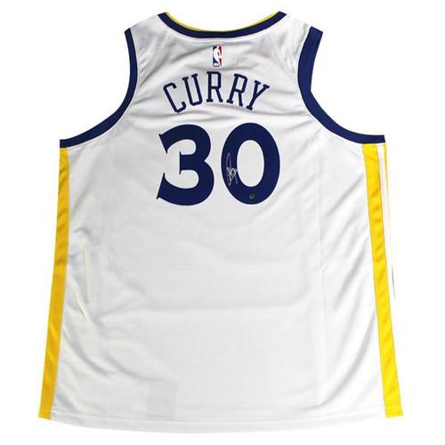 STEPHEN CURRY Autographed Golden State Warriors White Nike Dri-FIT Men's Swingman Association Jersey (On Court Style with Rakuten logo) STEINER