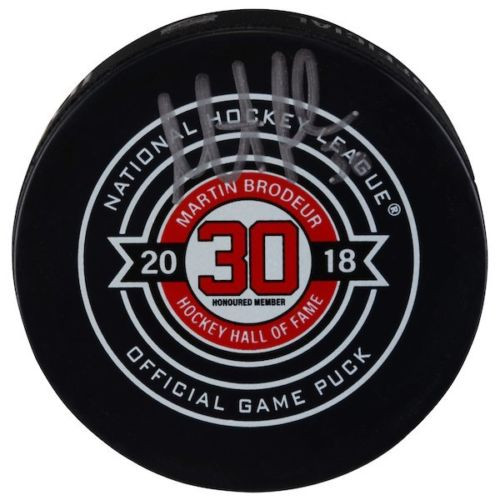 MARTIN BRODEUR New Jersey Devils Autographed Hall of Fame Night Official Game Puck FANATICS