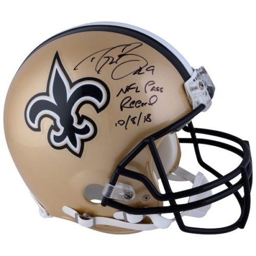 """DREW BREES Autographed New Orleans Saints """"NFL Pass Record 10/8/18"""" Proline Authentic Helmet FANATICS"""