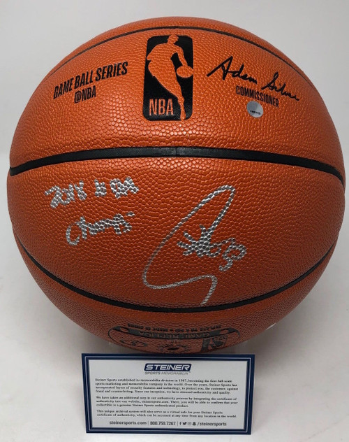 """STEPHEN CURRY Autographed & Inscribed """"2018 NBA Champs"""" Spalding Game Ball Series Basketball STEINER"""