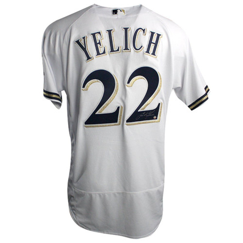 CHRISTIAN YELICH Autographed Milwaukee Brewers Authentic Majestic White Jersey STEINER