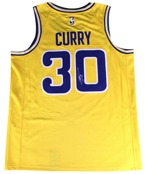 STEPHEN CURRY Autographed Golden State Warriors Nike Gold Fashion Current Player Hardwood Classics Swingman Jersey STEINER