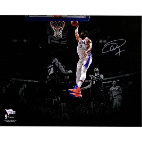 "JOEL EMBIID Philadelphia 76ers Autographed ""Dunking"" (in White Jersey)  11"" x 14"" Spotlight Photograph FANATICS"