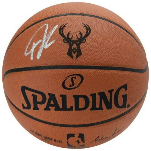 GIANNIS ANTETOKOUNMPO Autographed Milwaukee Bucks Logo Authentic Spalding Basketball FANATICS