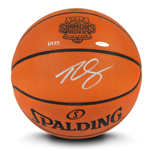 "BEN SIMMONS Philadelphia 76ers Autographed ""ROY"" Logo Engraved Authentic Basketball UDA LE 125"