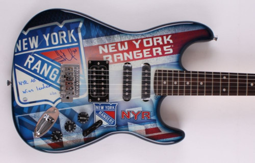 HENRIK LUNDQVIST Signed / Inscribed NY Rangers Full Size Guitar STEINER LE 3/30